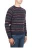 SBU 01489 Blue jacquard crew neck sweater in merino wool extra fine blend 02