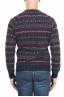SBU 01489 Blue jacquard crew neck sweater in merino wool extra fine blend 04