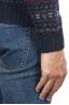 SBU 01489 メリノウールのブルージャカードクルーネックセーター 06