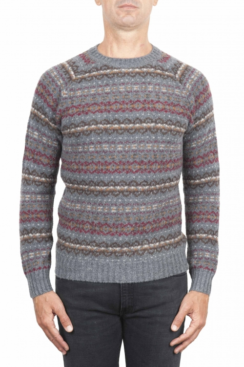 SBU 01490 Grey jacquard crew neck sweater in merino wool extra fine blend 01