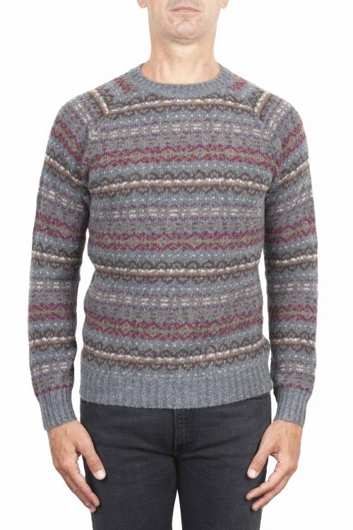 SBU 01490 Grey jacquard crew neck sweater in merino wool extra fine blend 01