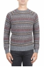 SBU 01490 Jersey de cuello redondo gris jacquard en lana merino mezcla extra fina 01