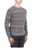 SBU 01490 Pull jacquard gris à col rond en laine mérinos mélangée extra fine 02