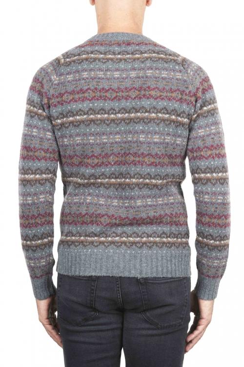 SBU 01490 Pull jacquard gris à col rond en laine mérinos mélangée extra fine 01