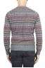 SBU 01490 Pull jacquard gris à col rond en laine mérinos mélangée extra fine 04