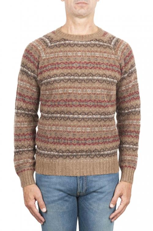 SBU 01491 Jersey de cuello redondo marrón jacquard en lana merino mezcla extra fina 01