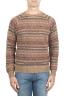 SBU 01491 メリノウールのブラウンジャカードクルーネックセーター 01