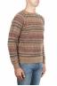 SBU 01491 Pull jacquard marron à col rond en laine mérinos mélangée extra fine 02
