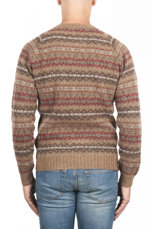 SBU 01491 Brown jacquard crew neck sweater in merino wool extra fine blend 01