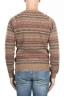 SBU 01491 Jersey de cuello redondo marrón jacquard en lana merino mezcla extra fina 04