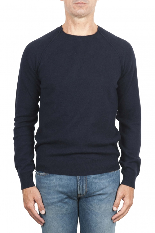 SBU 01492 Blue round neck raw cut neckline and raglan sleeve sweater 01