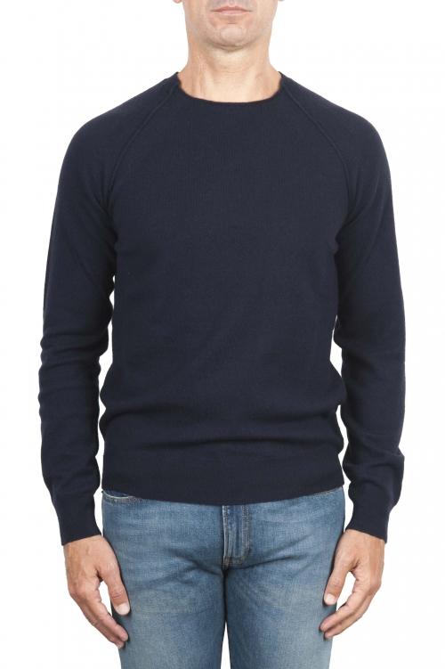 SBU 01492 Pullover giro collo a taglio vivo manica raglan in lana vergine blue 01