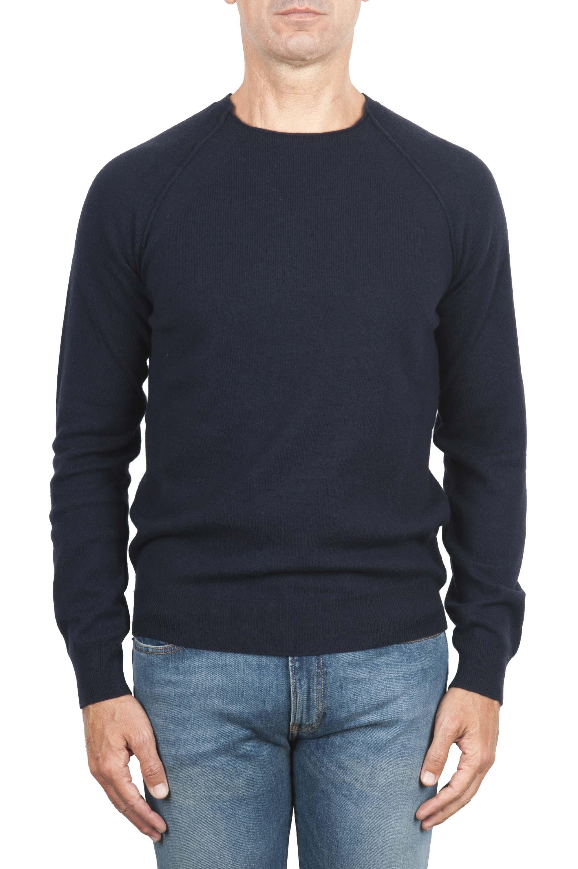 SBU 01492 Pullover giro collo a taglio vivo manica raglan in lana vergine blu 01