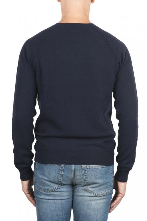 SBU 01492 Cuello redondo azul escote crudo manga raglán suéter 01