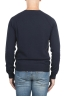 SBU 01492 Cuello redondo azul escote crudo manga raglán suéter 04