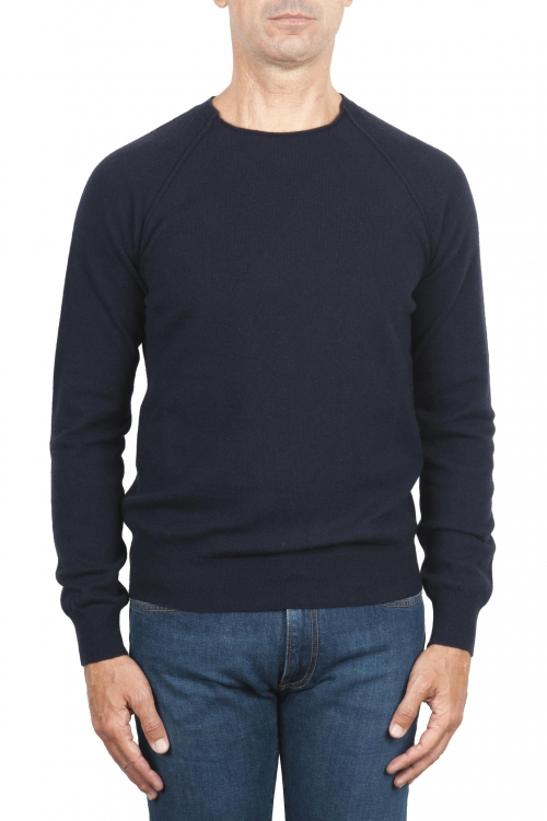 SBU 01493 Pullover giro collo a taglio vivo manica raglan in lana vergine blu navy 01