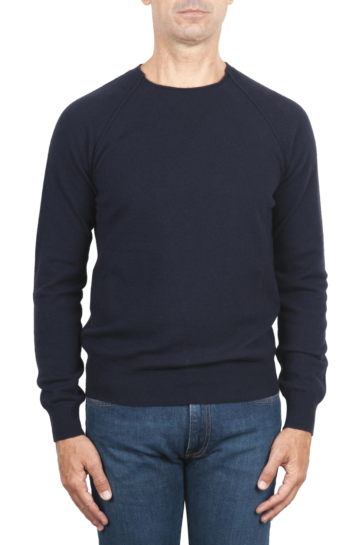SBU 01493 Navy blue round neck raw cut neckline and raglan sleeve sweater 01
