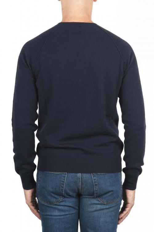 SBU 01493 Cuello redondo azul marino escote crudo manga raglán suéter 01