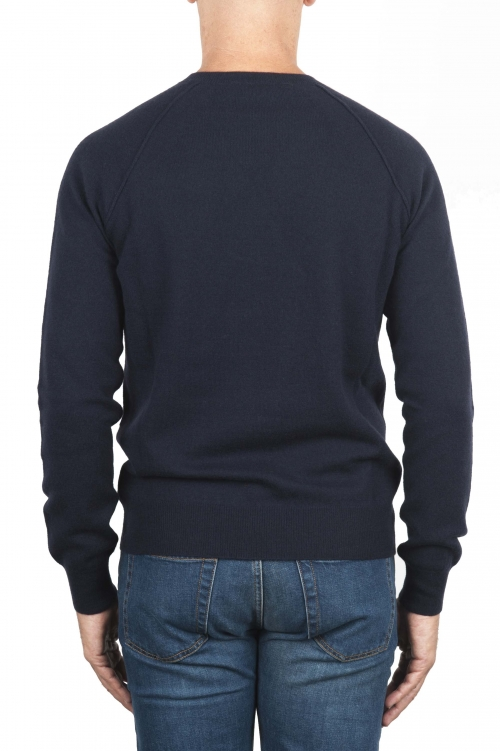 SBU 01493 Navy blue round neck raw cut neckline and raglan sleeve sweater 01