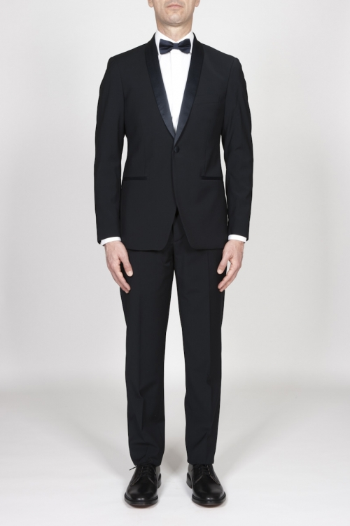 Blue Navy Wool Tuxedo Jacket And Trouser
