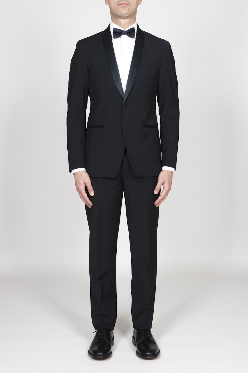 SBU - Strategic Business Unit - Blue Navy Wool Tuxedo Jacket And Trouser