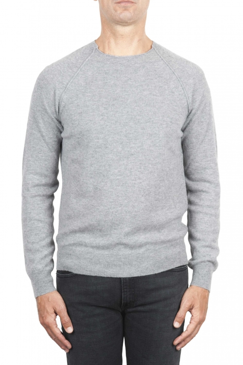 SBU 01494 Grey round neck raw cut neckline and raglan sleeve sweater 01