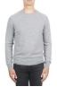 SBU 01494 Grey round neck raw cut neckline and raglan sleeve sweater 01