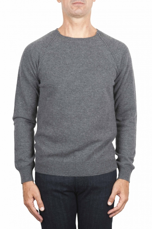 SBU 01495 Anthracite round neck raw cut neckline and raglan sleeve sweater 01