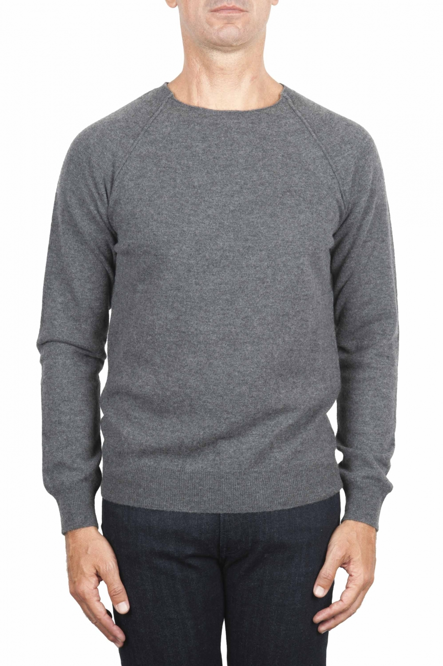 SBU 01495 Pullover giro collo a taglio vivo manica raglan in lana vergine antracite 01