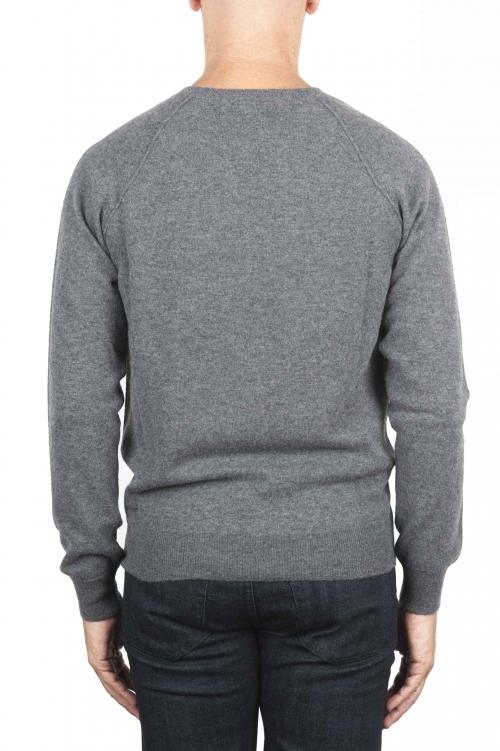 SBU 01495 Anthracite round neck raw cut neckline and raglan sleeve sweater 01