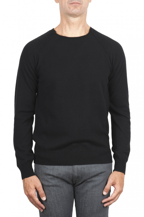 SBU 01496 Black round neck raw cut neckline and raglan sleeve sweater 01