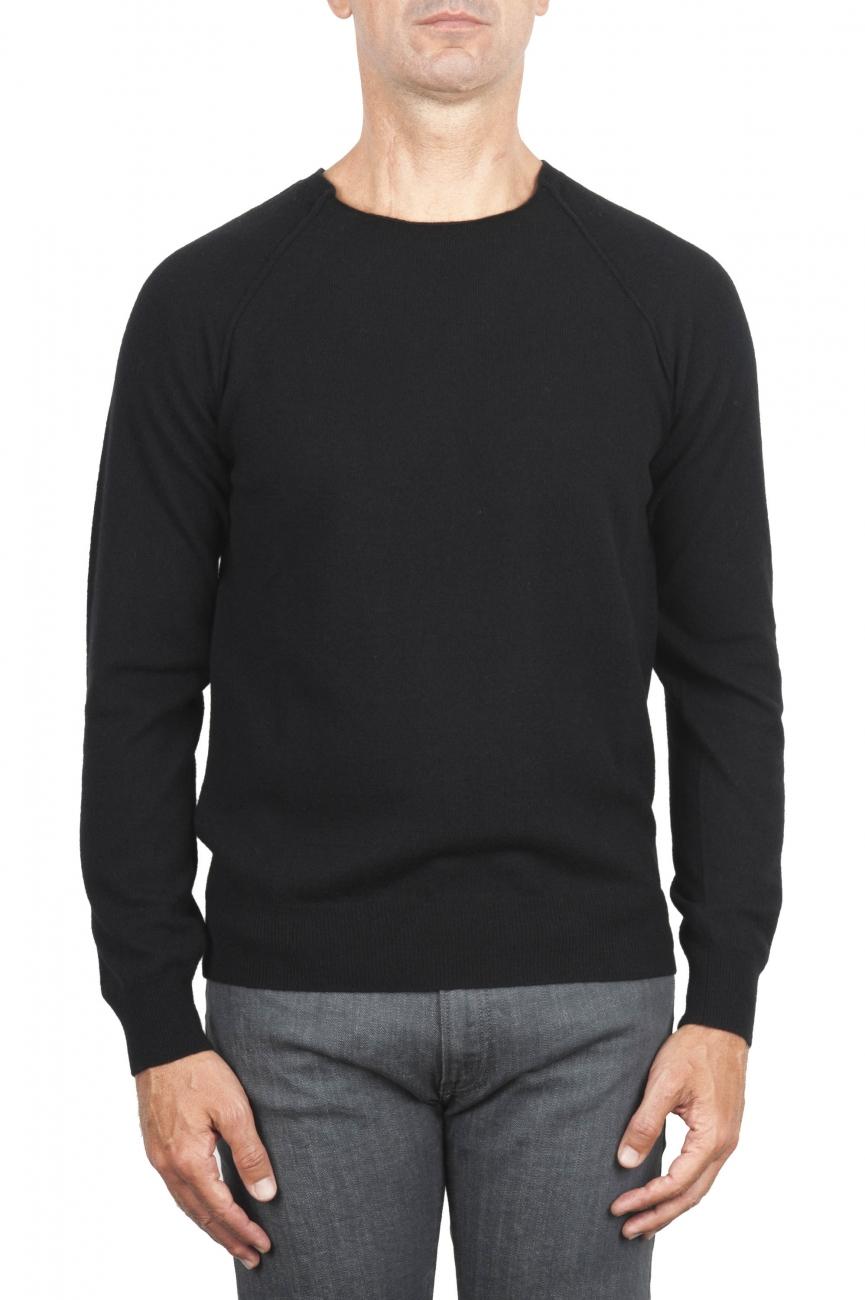 SBU 01496 Black round neck raw cut neckline and raglan sleeve sweater 01
