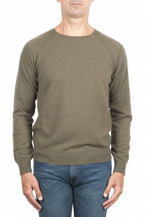 SBU 01497 Pullover giro collo a taglio vivo manica raglan in lana vergine verde 01