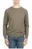 SBU 01497 Green round neck raw cut neckline and raglan sleeve sweater 01