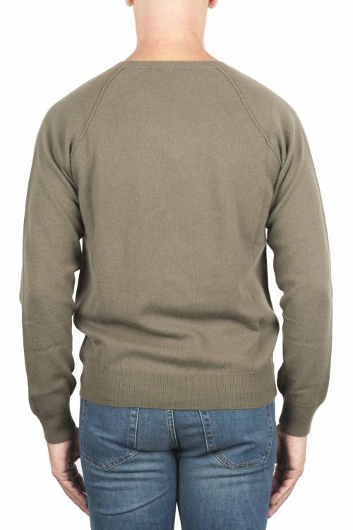SBU 01497 Green round neck raw cut neckline and raglan sleeve sweater 01