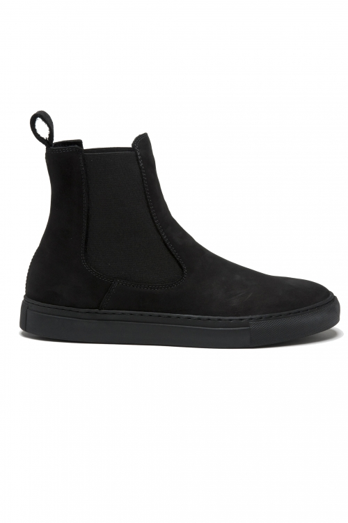 SBU 01506 Classic elastic sided boots in black nubuck calfskin leather 01