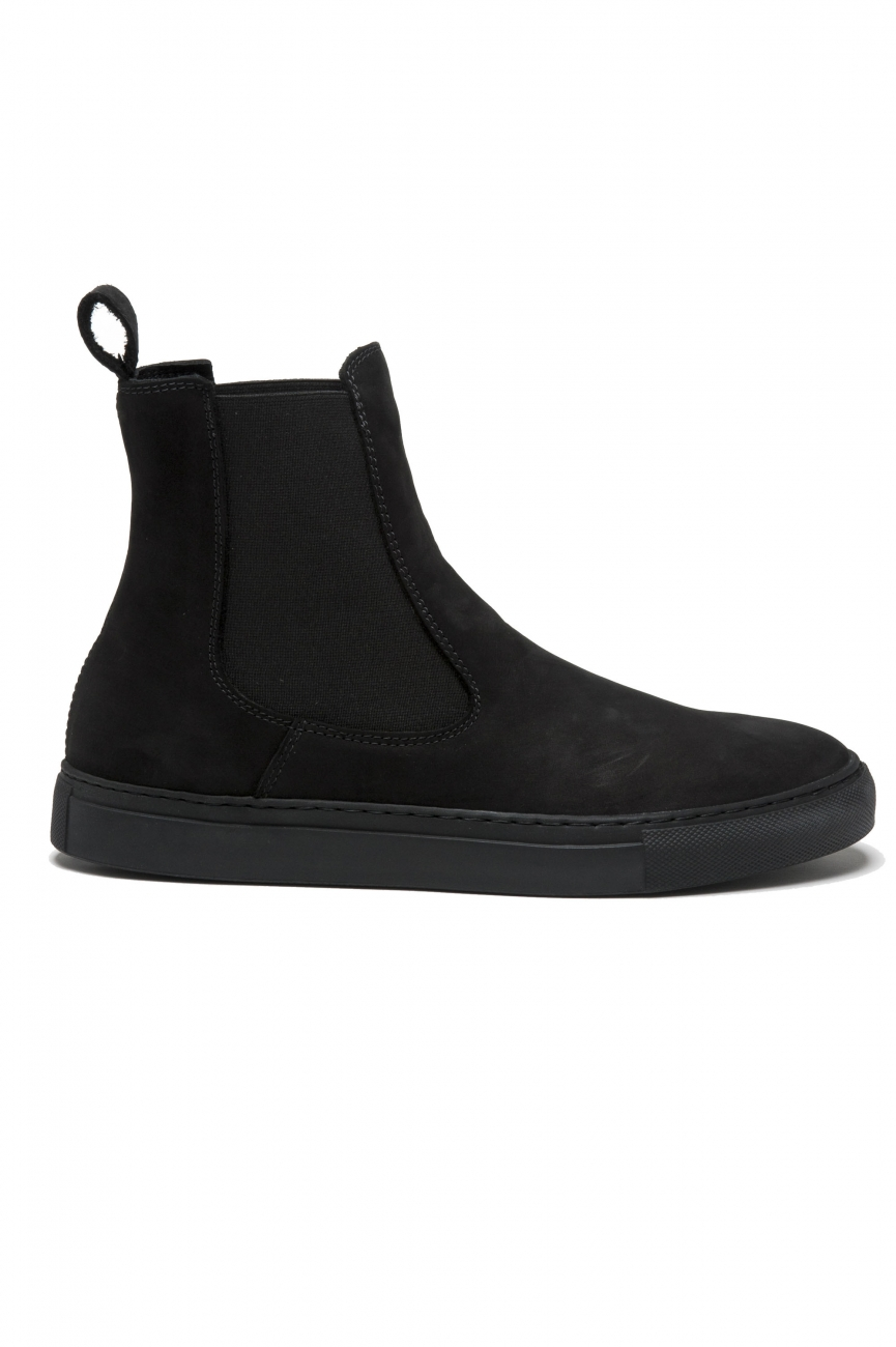 SBU 01506 Classic elastic sided boots in black nubuck calfskin leather 01