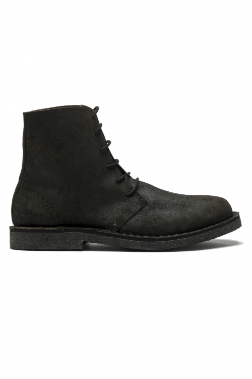 SBU 01508 Classic high top desert boots in black oiled calfskin leather 01