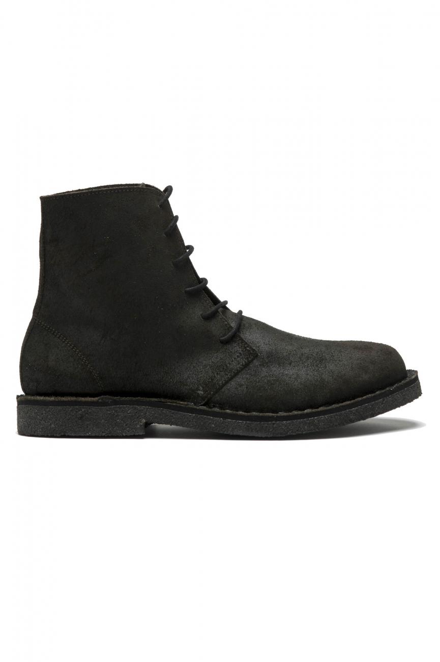 SBU 01508 Classic high top desert boots in black oiled calfskin leather 01