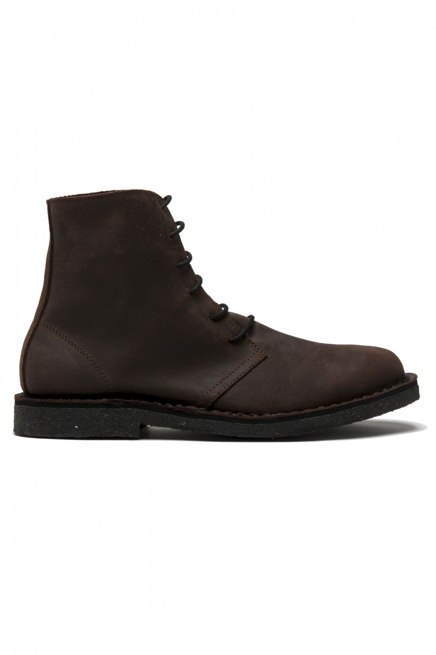 SBU 01509 Classic high top desert boots in pelle oleata marrone 01