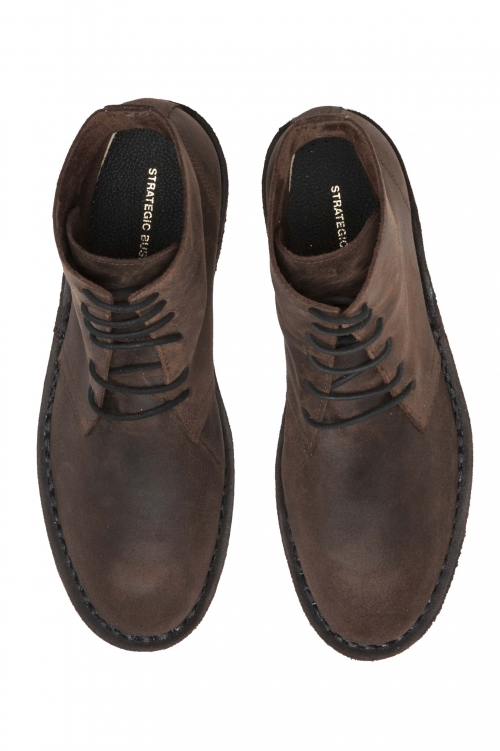SBU 01509 Classic high top desert boots in brown oiled calfskin leather 01