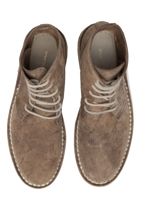 SBU 01510 Classic high top desert boots in beige oiled calfskin leather 01
