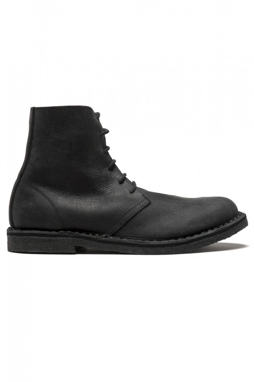 SBU 01511 Classic high top desert boots in black waxed calfskin leather 01