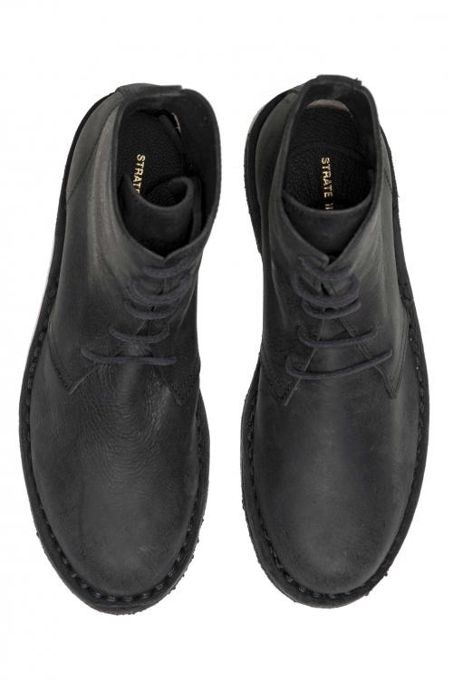 SBU 01511 クラシックハイトップブラックワックスカーフスキンレザーのデザートブーツ 01