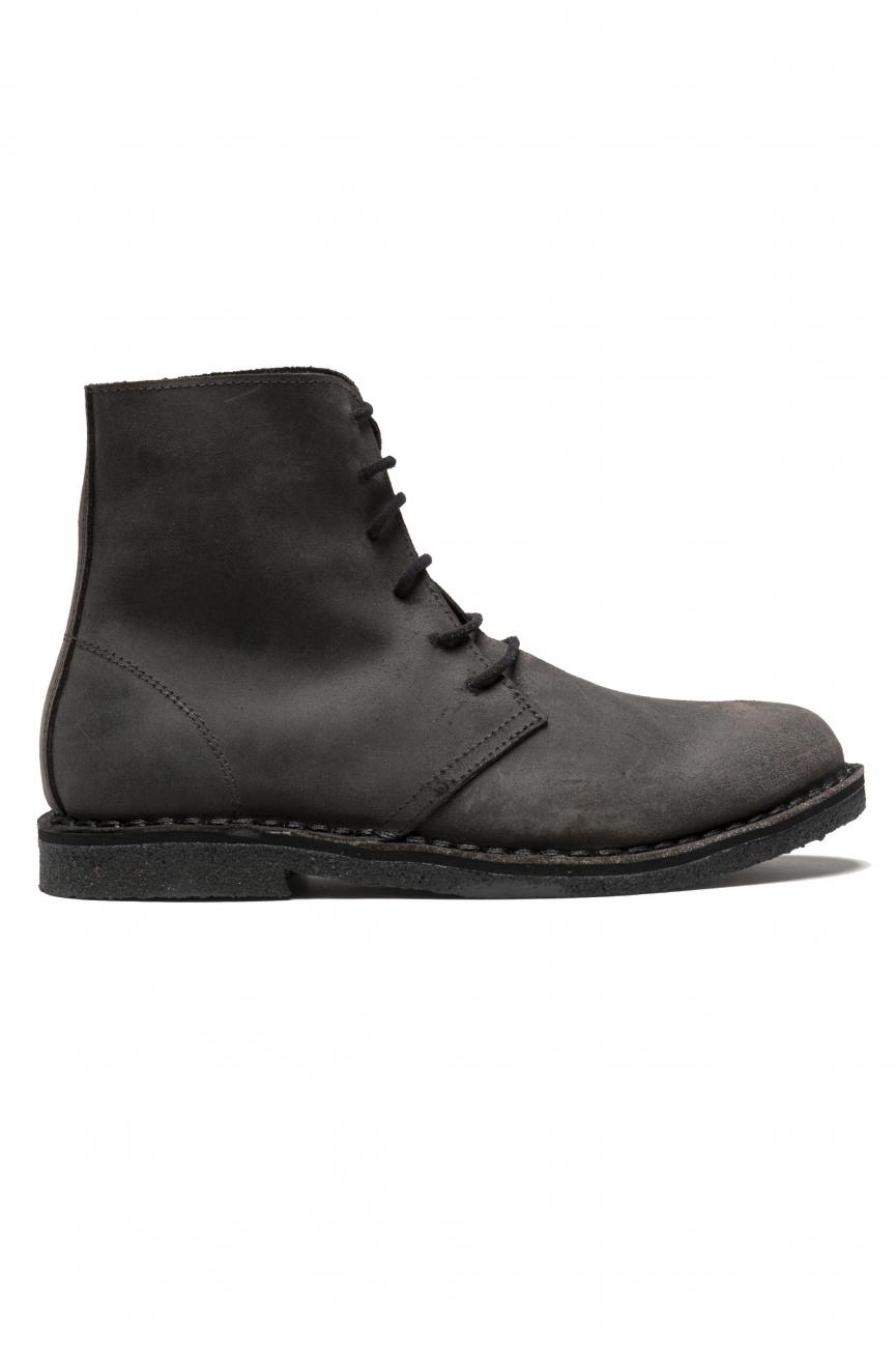 SBU 01512 Classic high top desert boots in brown waxed calfskin leather 01