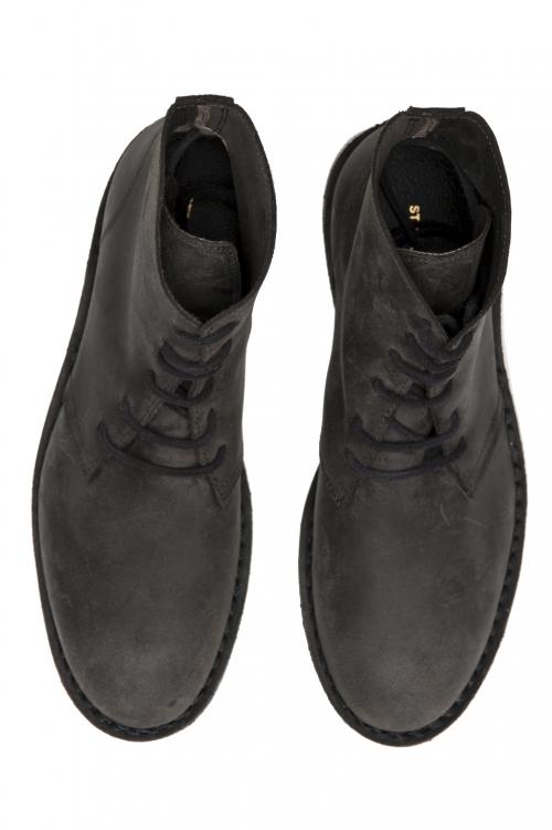SBU 01512 Bottes du désert haut classiques en cuir de veau ciré marron 01