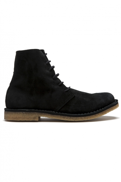 SBU 01513 Classic high top desert boots in black suede calfskin leather 01