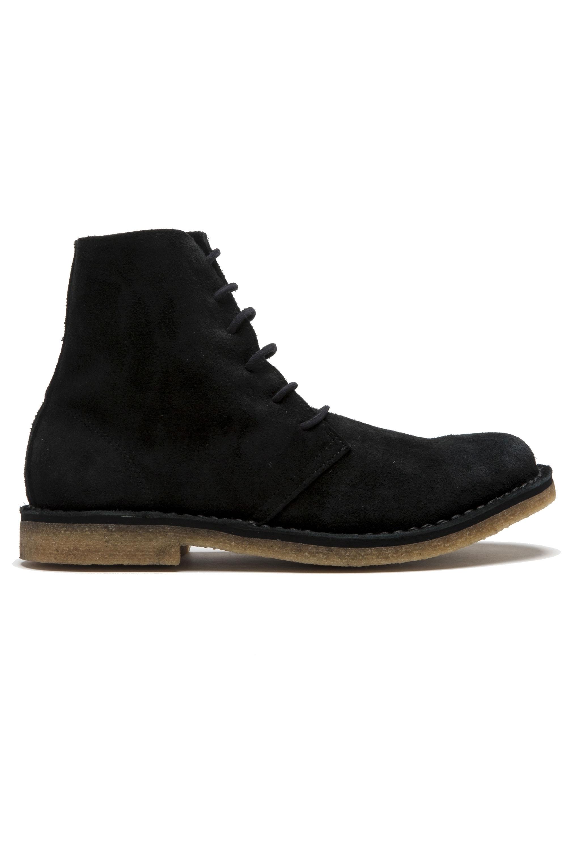 SBU 01513 Classic high top desert boots in black suede calfskin leather 01