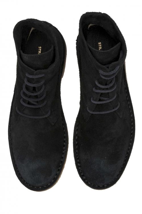 SBU 01513 ブラックスエードのカーフスキンレザーを使用したクラシックなハイトップデザートブーツ 01