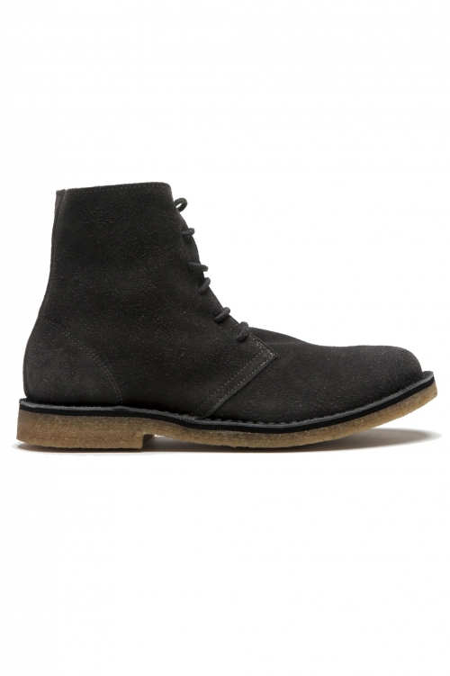 SBU 01514 Classic high top desert boots in grey suede calfskin leather 01